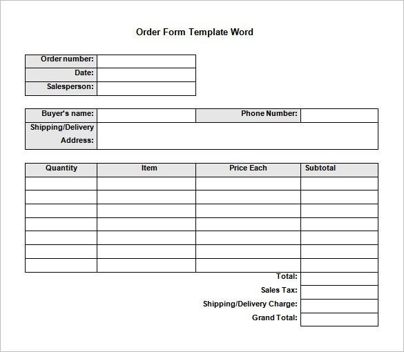 Downloadable Order Forms for Microsoft Word Template : Vlcpeque