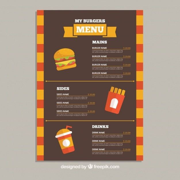 Flat menu template with burgers, drinks and fries Vector | Free ...