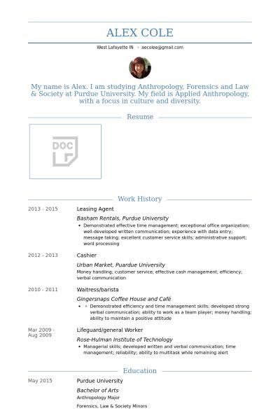 Leasing Agent Resume samples - VisualCV resume samples database