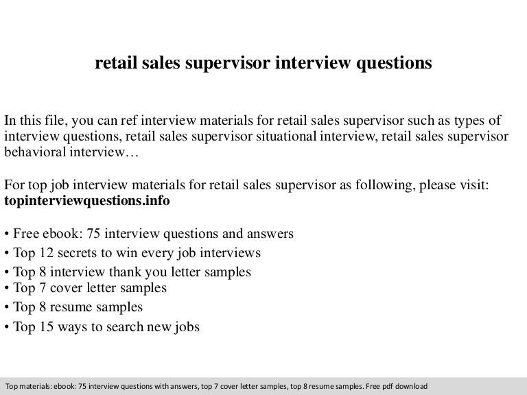Retail sales supervisor interview questions
