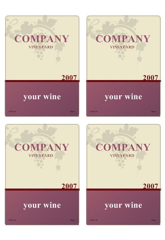 Wine label template | Personilize your own wine labels