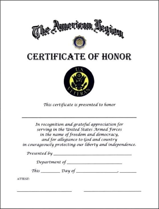 Certificate of Honor Template | Certificate Templates
