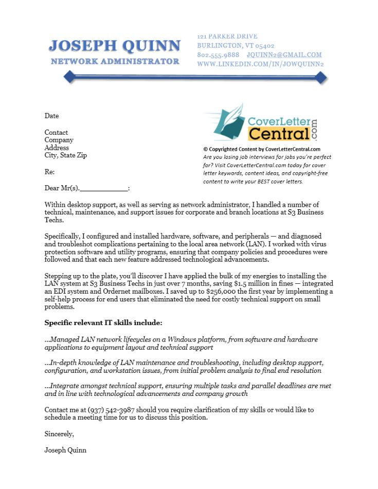 Network Administrator Cover Letter Sample | Cover Letter Central