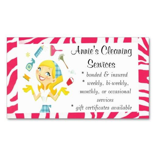 Cleaning services maid business card colour | House cleaning ...
