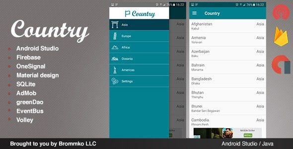 Country - Full Android template app by Brommkollc | CodeCanyon