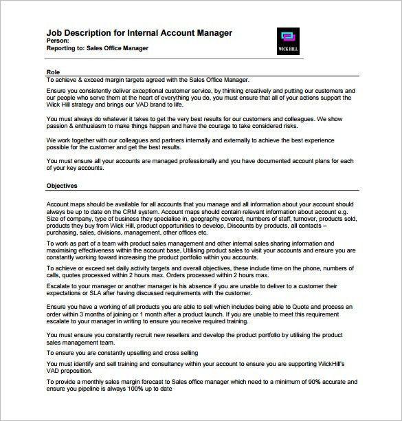10+ Account Manager Job Description Templates U2013 Free Sample .