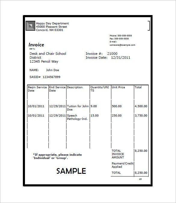 Education Invoice Template – 8+ Free Word, Excel, PDF Format ...