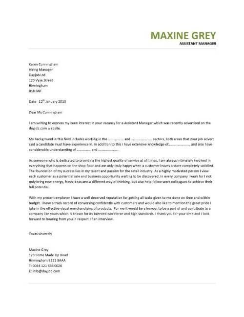 Assistant Office Manager Cover Letter