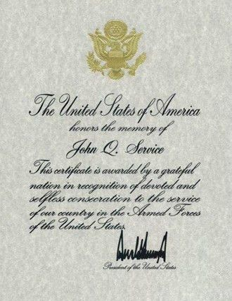 Presidential Memorial Certificates - National Cemetery Administration