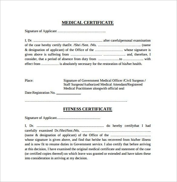 medical certificate format – Free Online Form Templates
