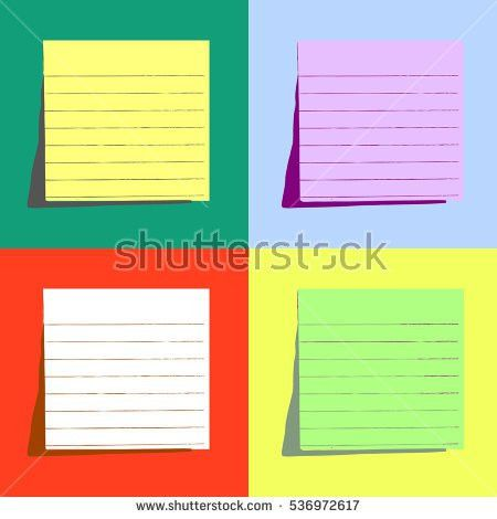 Set Different Colored Paper Notes Vector Stock Vector 124702444 ...