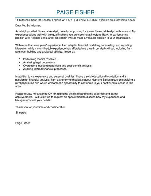 cover letter for financial analyst. sample cover letter business ...