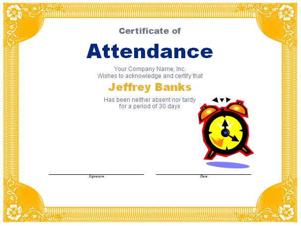 Attendance Award Template | Free Layout & Format