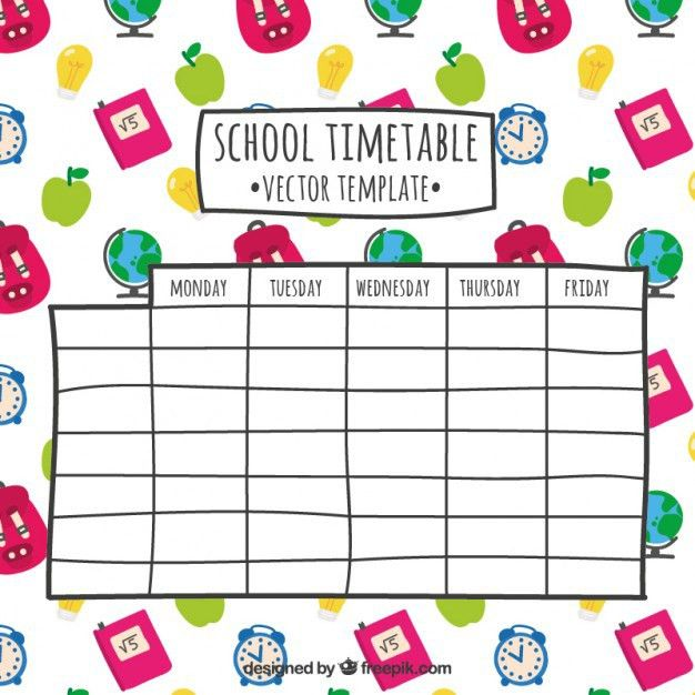 Hand drawn school timetable Vector | Free Download