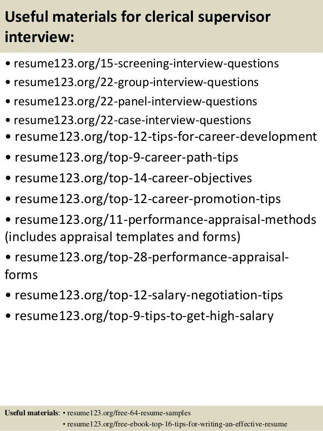 Top 8 clerical supervisor resume samples