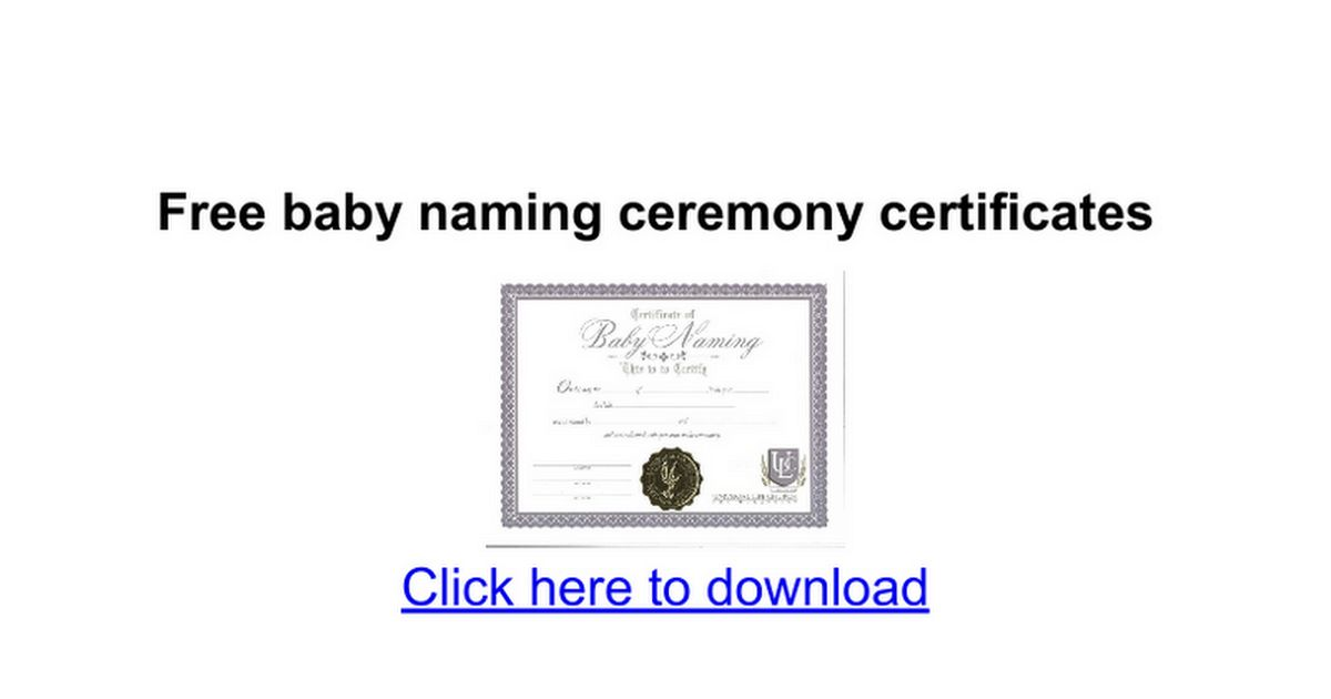 Free baby naming ceremony certificates - Google Docs