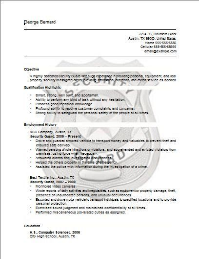 Security Guard Sample Resume Unforgettable Security Guard Resume - Resume for security guard