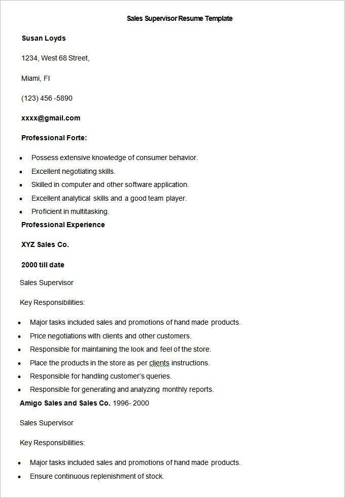 sales supervisor resume sales supervisor resume template sample