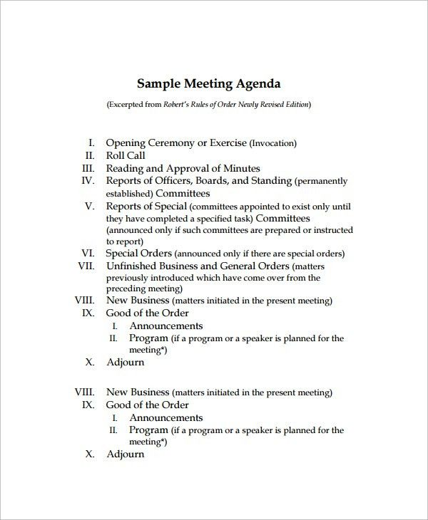 Sample Agenda - 6+ Documents in Word, PDF