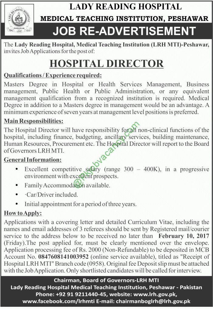 Lady Reading Peshawar Hospital Director Jobs Aaj Newspaper 25 ...