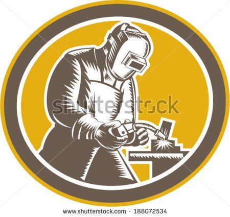 Retro Style Vector Illustration Welder Work Stock Vector 87903454 ...