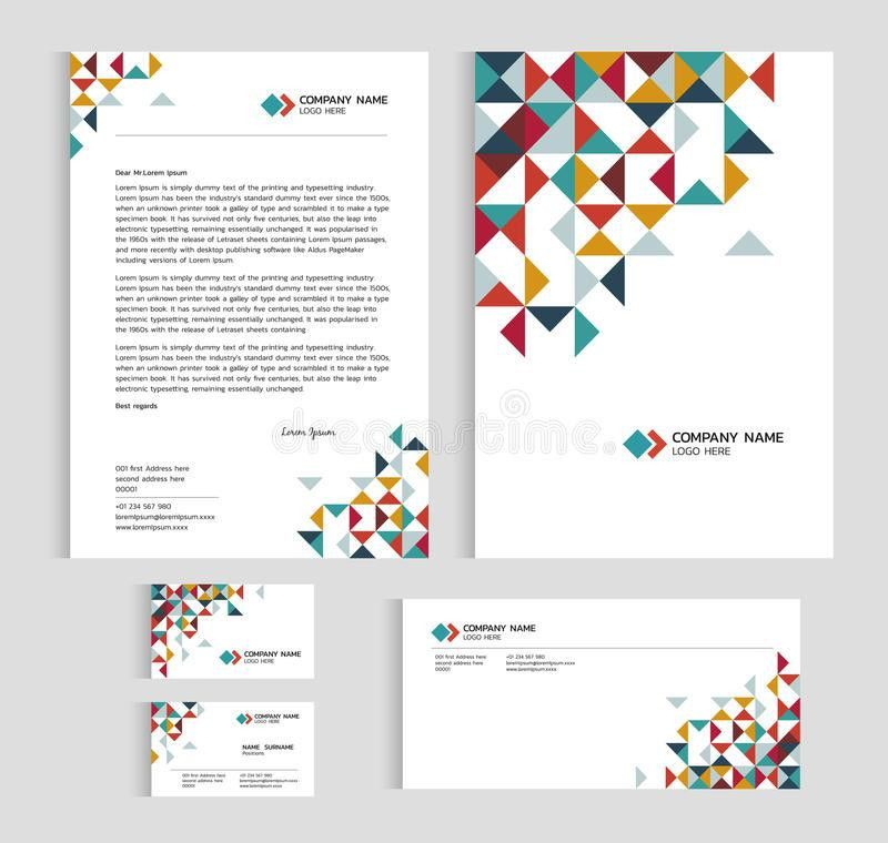 Layout Template Size A4 Cover, Page Business Card And Letter - Low ...