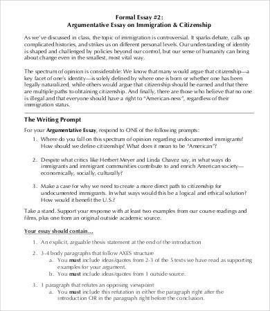 Argumentative Essays – 9+ Free Samples, Examples, Format Download ...