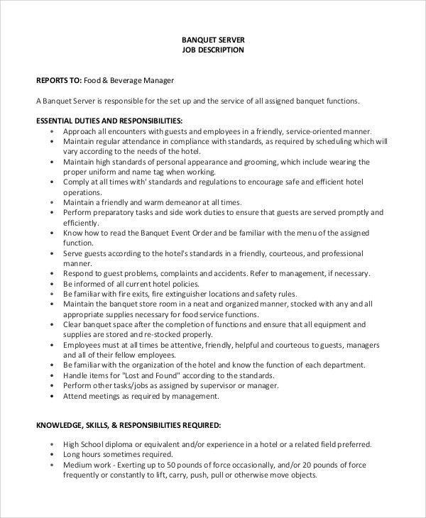 banquet server job description example word template free download ...
