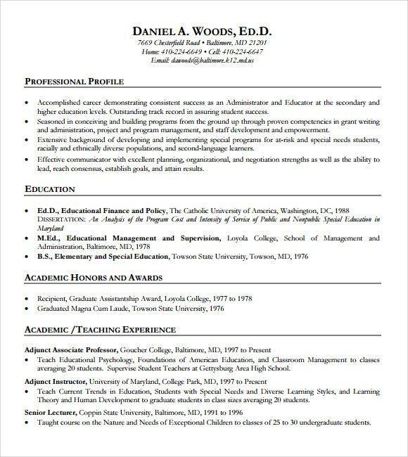 high school teacher resume template