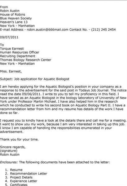 Biologist cover letters