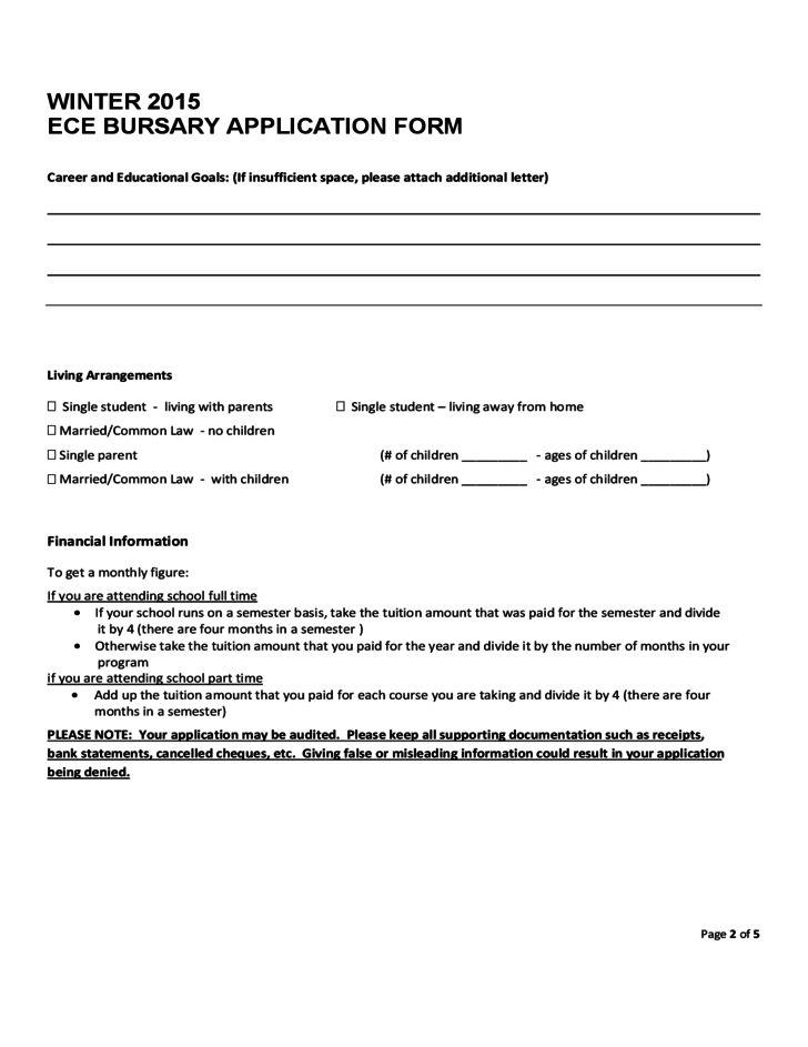 Student Bursary Application Sample Form Free Download