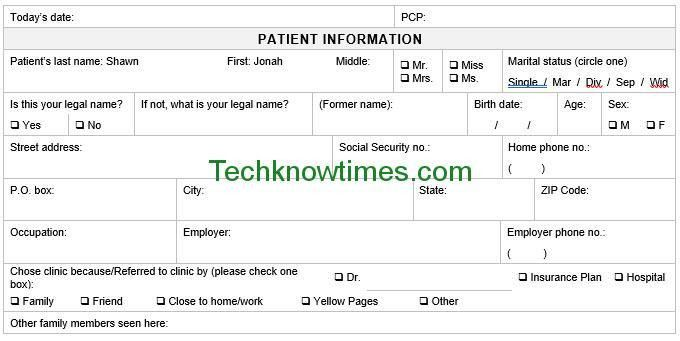 Patient Registration Form Template in MS Word