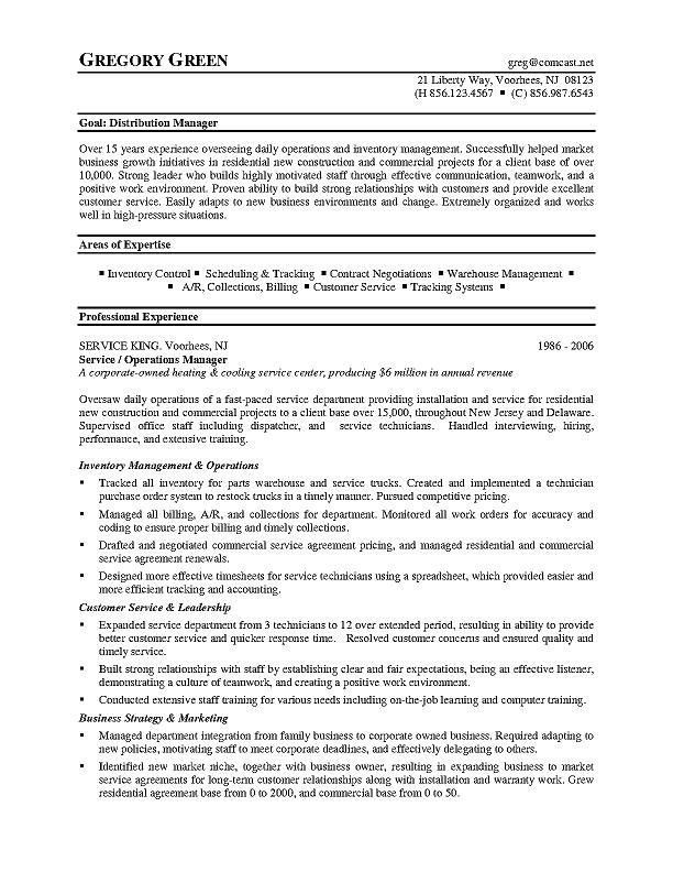 Distribution Manager Sample Resume 19 Warehouse Resumes Warehouse ...