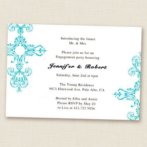 tiffany blue damask simple and elegant engagement party ...