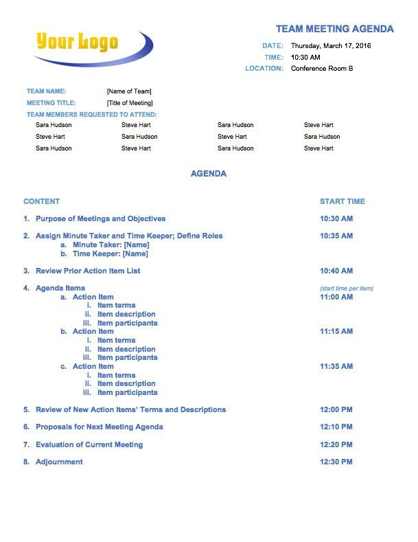 Free Meeting Agenda Templates - Smartsheet