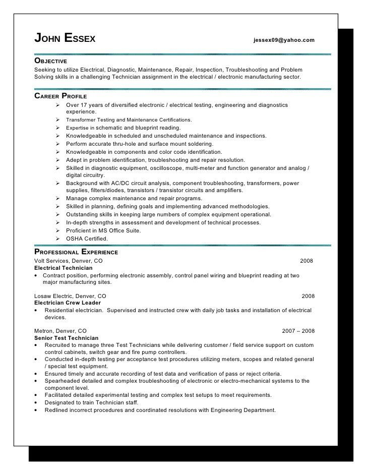 Residential Electrician Resume Example 3 | ilivearticles.info