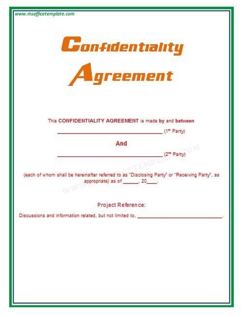 Microsoft Office TemplatesConfidentiality Agreement