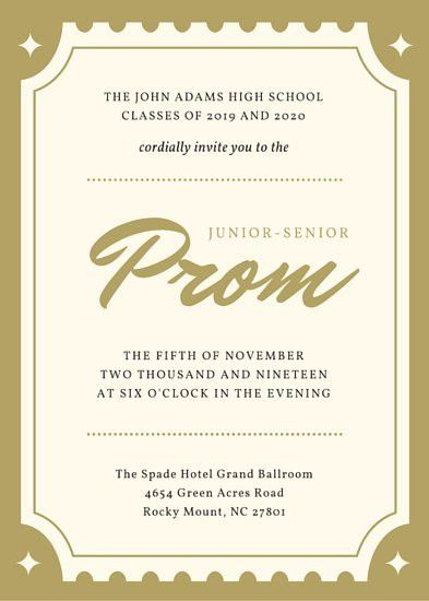 Golden Ticket Hollywood Prom Invitation (Portrait) - Templates by ...
