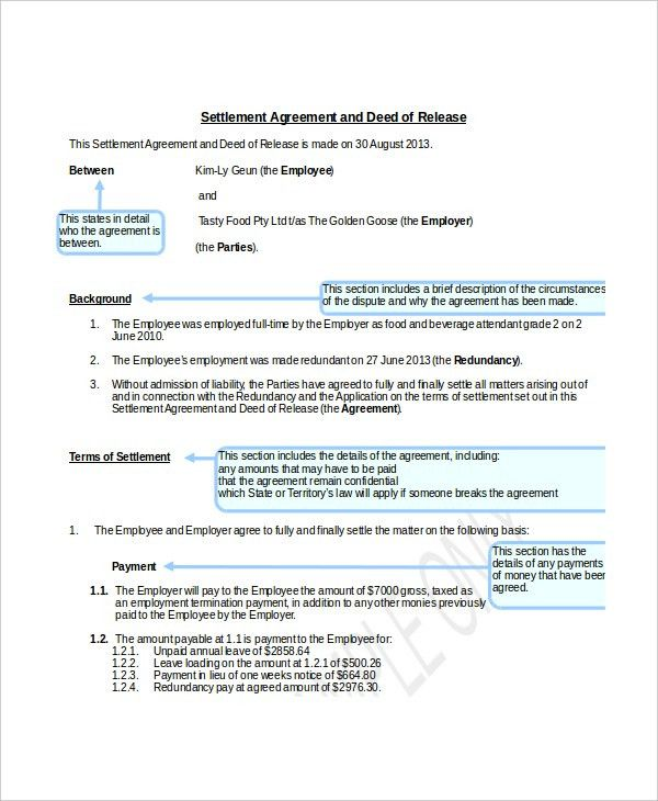 Settlement Agreement Template. Mutual Release Agreement Form 7+ ...