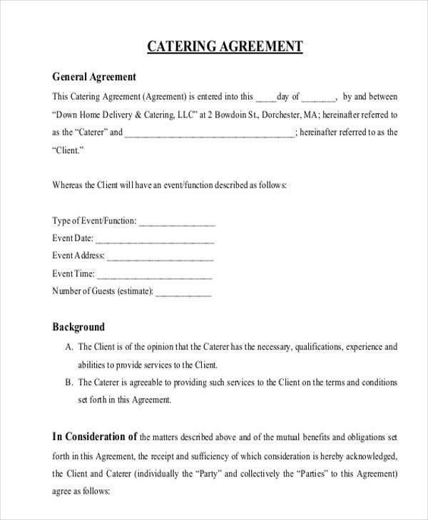 Catering Contract Templates. In-House Catering Contract Form ...