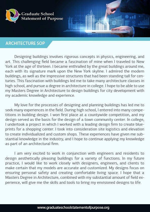 Writing a Professional Graduate Statement of Purpose. Architecture ...