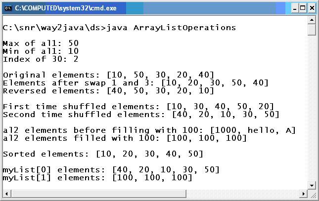 ArrayList Reverse Search Swap Shuffle Fill Java