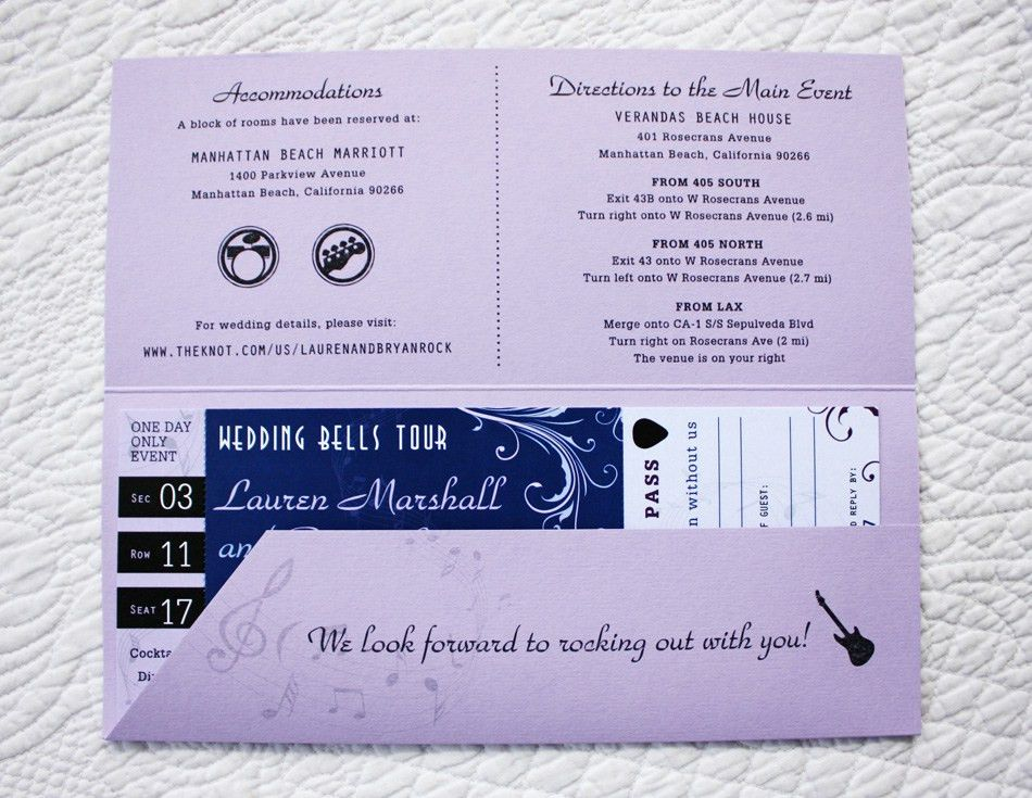 Music Notes, Guitar & Swirls Rock Concert Ticket Wedding ...