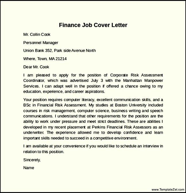 cover letter for a finance job