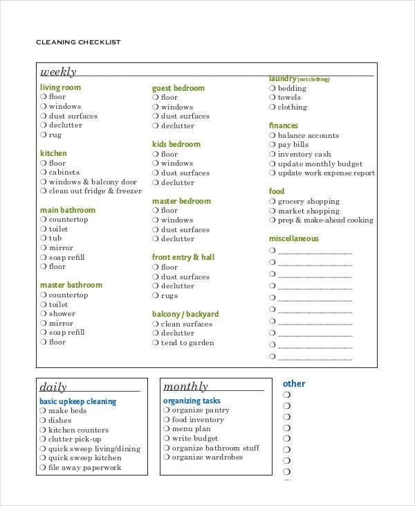 Weekly Checklist Template - 9+ Free Sample, Example, Format | Free ...