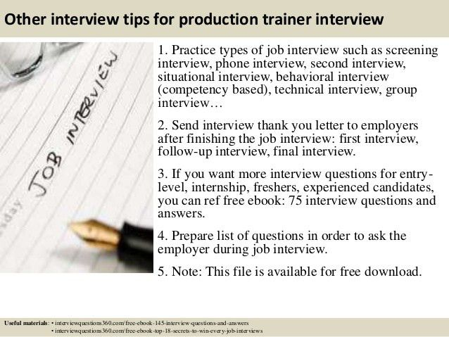 Top 10 production trainer interview questions and answers