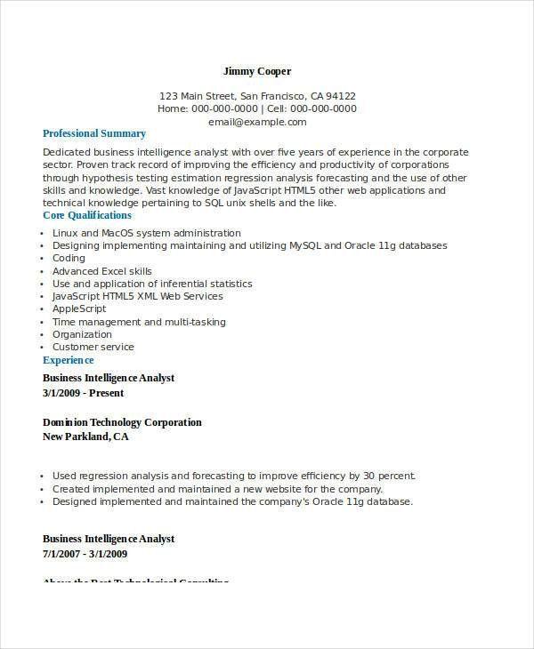 business intelligence sample resume business intelligence resume