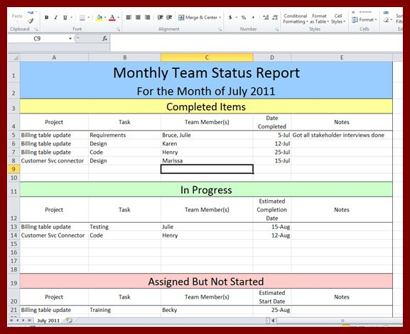 21 Status Report Template Excel | sendletters.info