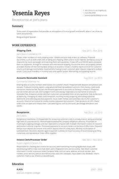 Shipping Clerk Resume samples - VisualCV resume samples database