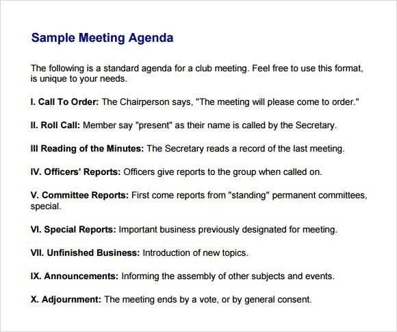 Meeting Agenda Samples. 20+ Meeting Agenda Templates - Word Excel ...